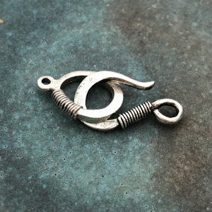 Wire Wrap Hook and Eye Clasp - Antique Silver