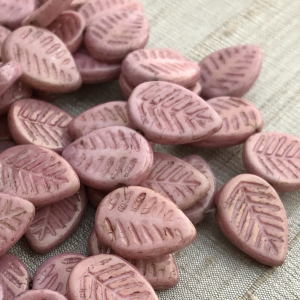 12x16mm Dogwood Leaves Dusty Rose with a Golden Luster