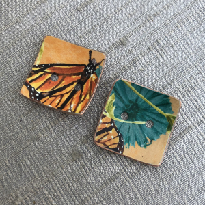 Faux Tin Button Set - Monarch Butterflies