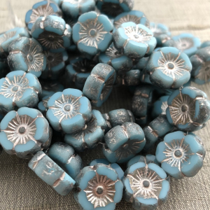 12mm Hibiscus Medium Sky Blue with a Metallic Beige and Etched Finish