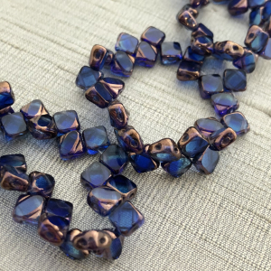 6mm Two Hole Silky Bead Cobalt with Picasso Finish