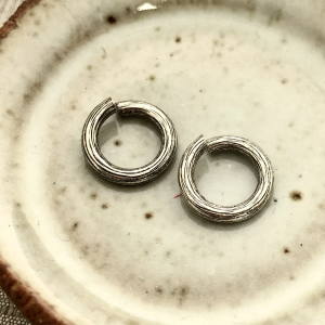 Bark Jump Ring 12mm Antique Silver - 2