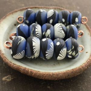 Blue Branches Disk Beads