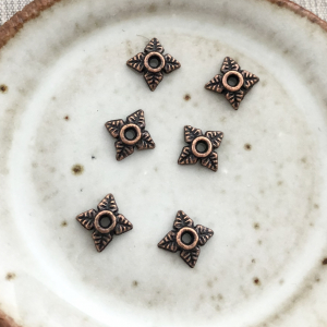 Floral Bead Cap - Antique Copper 6mm
