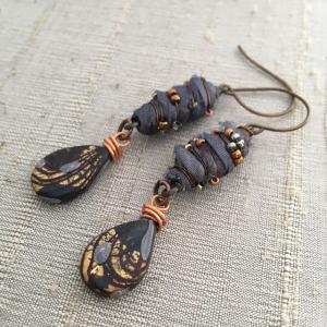 Silk Wrapped Beads Earrings
