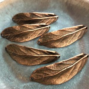 Leaf Bracelet Cuff Double Hole Antique Copper