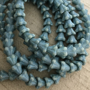 5x6mm Bell Flowers Slate Blue with Turquoise Wash