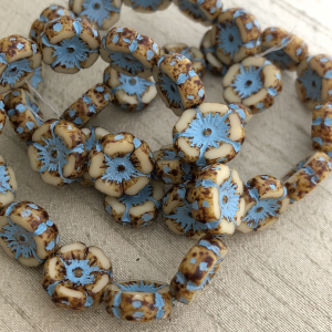 12mm Hibiscus Flower Champagne with Picasso Finish and Turquoise Wash