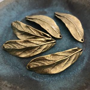 Leaf Bracelet Cuff Double Hole Antique Gold