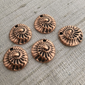 Small Nautilus Charm Antique Copper