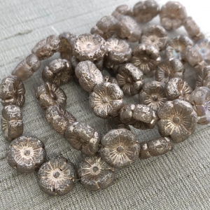 12mm Hibiscus Flower Pale Grey with Beige, Silver, and Etched Finish
