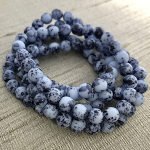 6mm Round Druk Periwinkle with a Black Finish