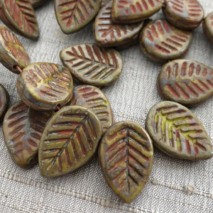 12x16mm Dogwood Leaves Artichoke with a Coral Wash
