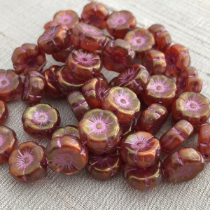 12mm Hibiscus Boysenberry and Ladybug Red with Golden Luster and Pink Wash