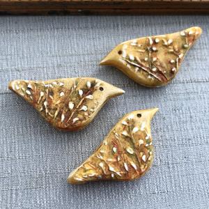 Willow Bird Bead: Gold