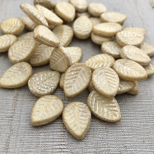 12x16mm Leaves Yellow Ivory with Mercury Finish