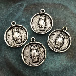 Owl Charm Antique Silver