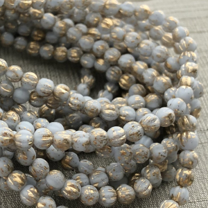 4mm Melon Periwinkle with Gold Wash