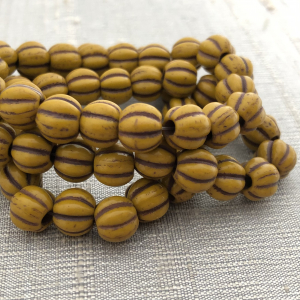 8mm Large Hole Melon Yellow Gold with a Brown Wash