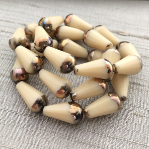 8x15mm Faceted Dangle Drop Ivory with Bronze Finish