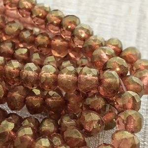 5x3mm Rondelle Alloy Orange with Golden Luster Finish