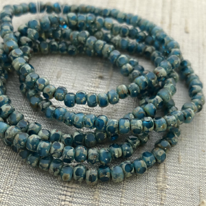 ]3x4mm Trica Pacific Blue and Turquoise with Picasso Finish