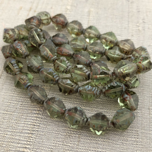 8x10mm Faceted Bicone Avocado with Picasso Finish