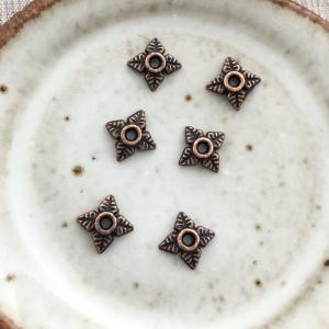 Floral Bead Cap - Antique Copper 6mm