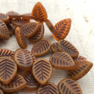 12x16mm Dogwood Leaves Alloy Orange with a Brown Wash