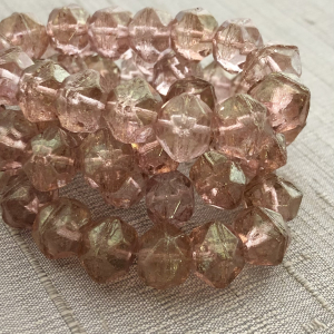 10mm English Cut Pale Pink with Gold Luster