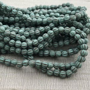 4mm Melon Matte Sea Green with Brown Wash