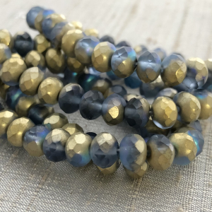 5x7mm Rondelle Cadet Blue with a Matte Finish and Gold Luster
