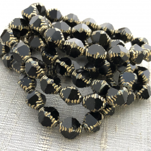 8x10mm Faceted Bicone Black with a Picasso Finish and Gold Wash