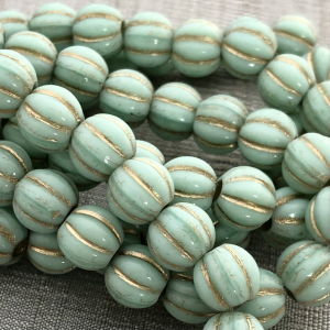 8mm Large Hole Melon Mint with Gold Wash