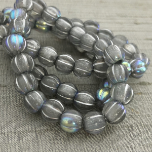 8mm Large Hole Melon Transparent Glass with Silver Wash and AB Finish