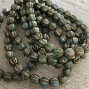 6mm Melon Blue Turquoise with Picasso Finish