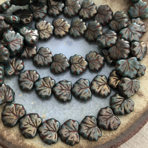 10x13mm Maple Leaf Army Green with Coral Wash