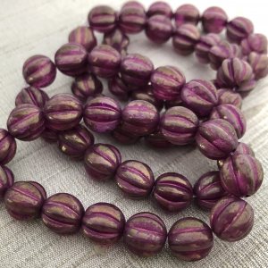 10mm Melon Purple Pansy with Etched Finish and Purple Golden Luster