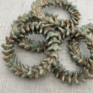 5x8mm Bell Flowers Sea Green with Gold Wash and Etched Finish