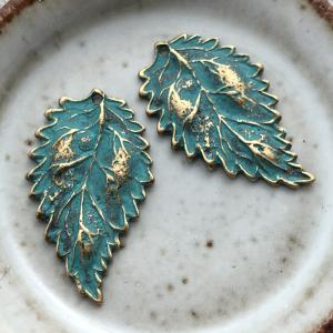 Antique Brass Leaf Charms - Verdigris 16 x 27mm