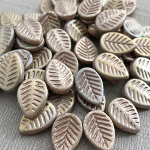 12x16mm Dogwood Leaves Metallic Champagne Pink with AB Finish